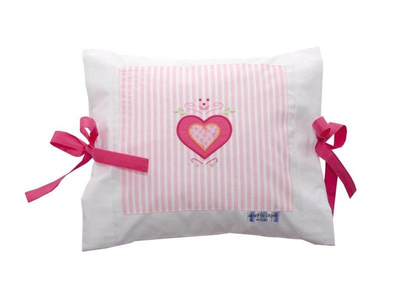 Annette Frank Kissenbezug Herz rosa 35 x 40 cm mit Schleifen