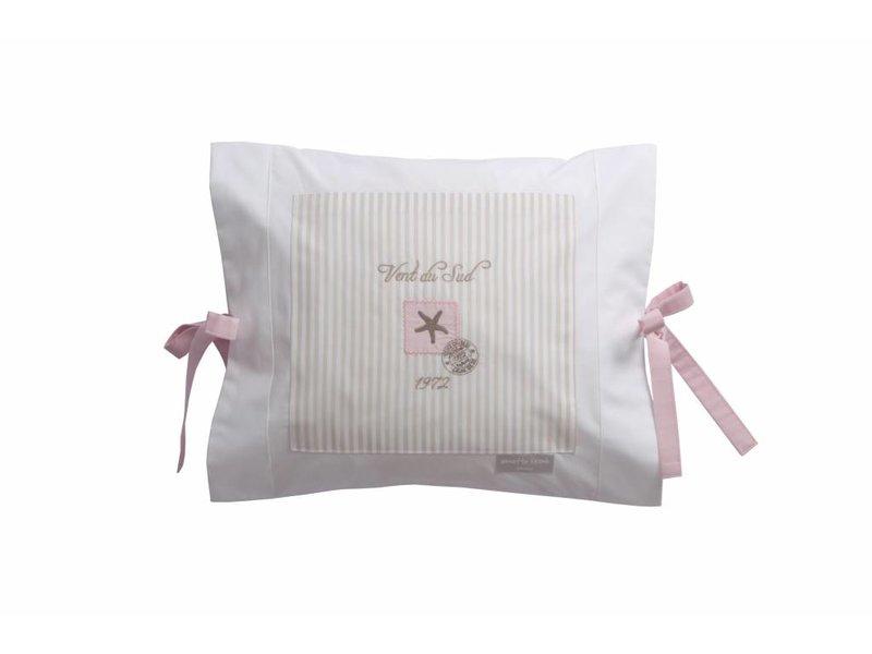 Annette Frank Kissenbezug Seestern beige-rosa 35 x 40 cm mit rosa Schleifen
