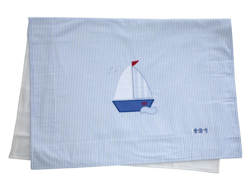Annette Frank Kuscheldecke Segelboot hellblau 75 x 105 cm