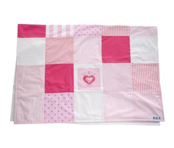 Annette Frank Patchworkdecke rosa-pink-weiss 100 x 140 cm