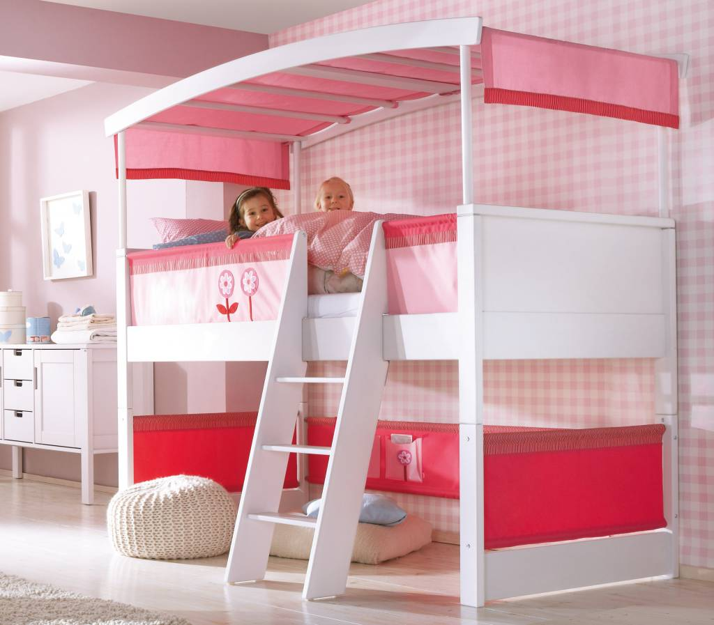 haba matti hochbett mit bogen wei rosa. Black Bedroom Furniture Sets. Home Design Ideas