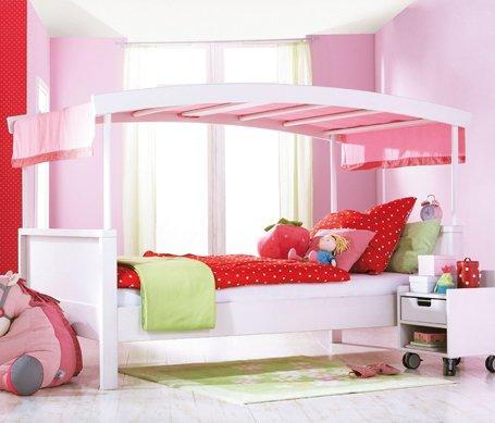 haba matti bett matti mit bogen wei rosa. Black Bedroom Furniture Sets. Home Design Ideas