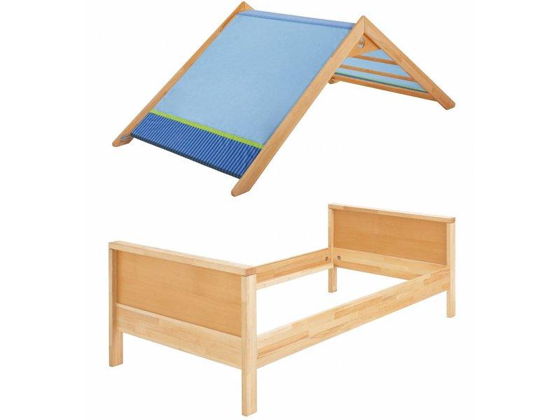 haba matti bett matti mit giebel buche blau. Black Bedroom Furniture Sets. Home Design Ideas