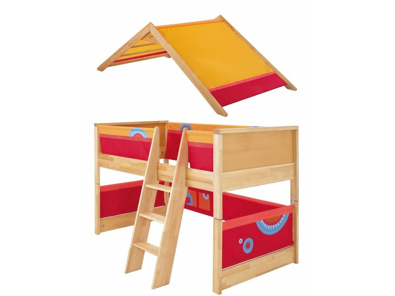 haba matti spielbett matti mit giebel buche rot www. Black Bedroom Furniture Sets. Home Design Ideas