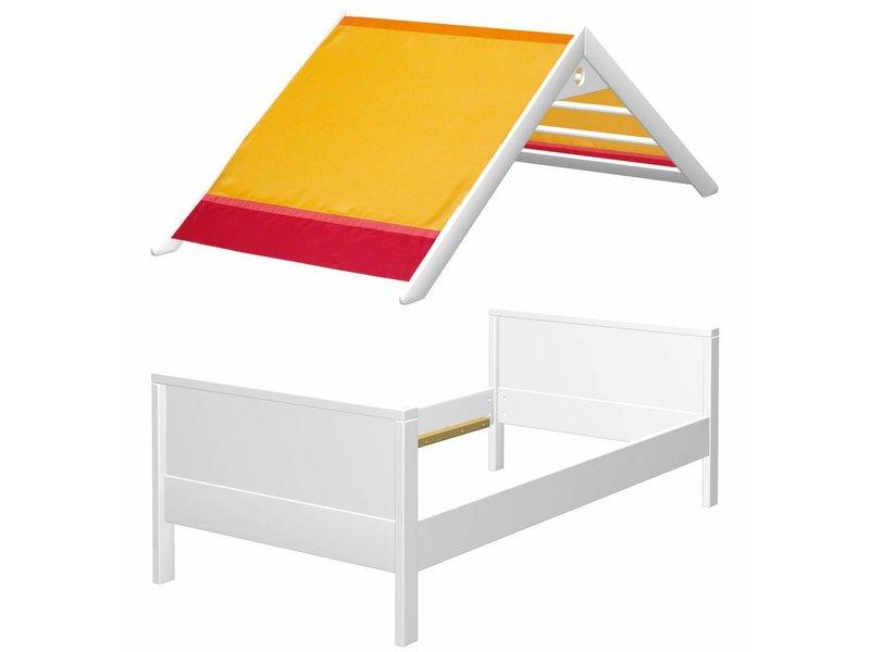 haba matti bett matti mit giebel buche wei rot www. Black Bedroom Furniture Sets. Home Design Ideas