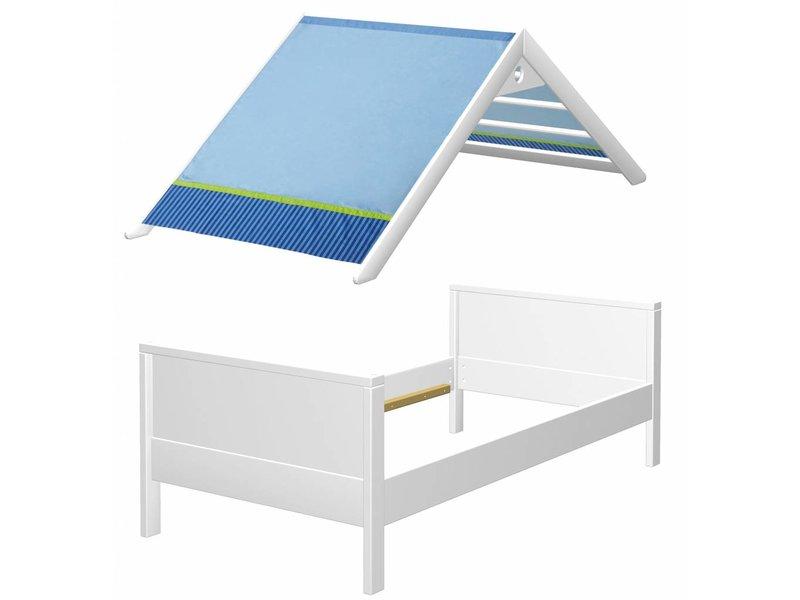 haba matti bett matti mit giebel buche wei blau www. Black Bedroom Furniture Sets. Home Design Ideas