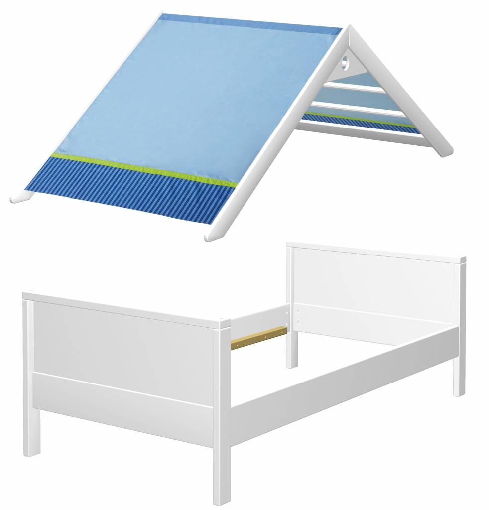 haba matti bett matti mit giebel buche wei blau. Black Bedroom Furniture Sets. Home Design Ideas