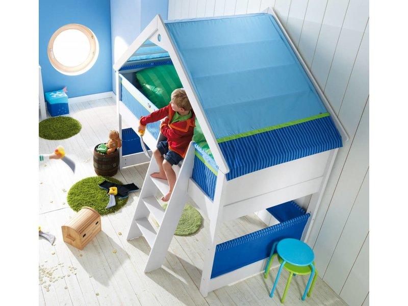 haba matti spielbett matti mit giebel buche wei blau. Black Bedroom Furniture Sets. Home Design Ideas
