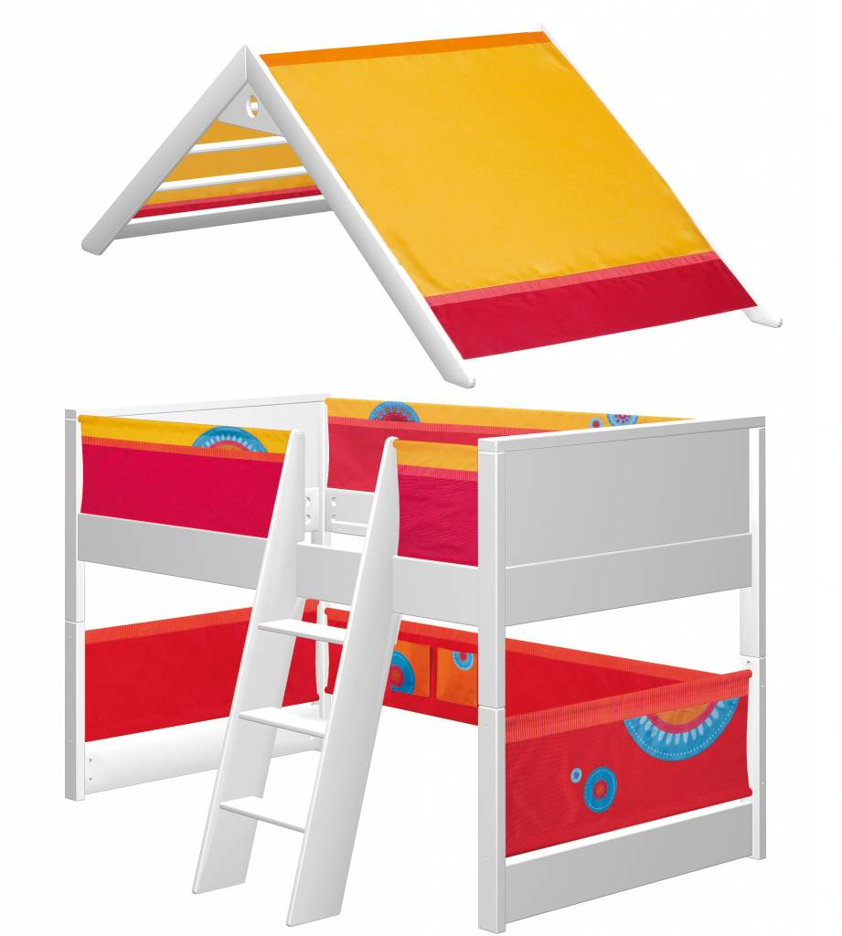 haba matti spielbett matti mit giebel buche wei rot. Black Bedroom Furniture Sets. Home Design Ideas