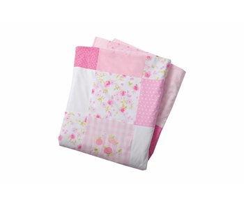 Annette Frank Patchworkdecke rosa-pink-weiss 125 x 225 cm