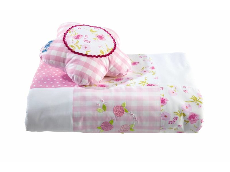Annette Frank Patchworkdecke Rose rosa-pink-weiss 125 x 225 cm