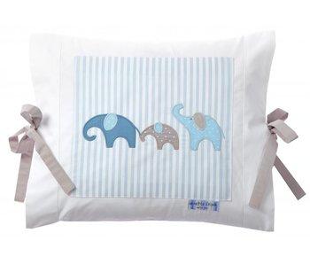Annette Frank Kissenbezug Elefant blau 35 x 40 cm