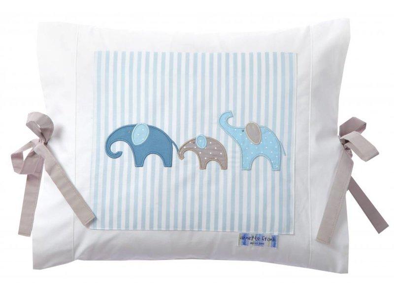 Annette Frank Kissenbezug Elefant lagune-blau 35 x 40 cm mit Schleifen