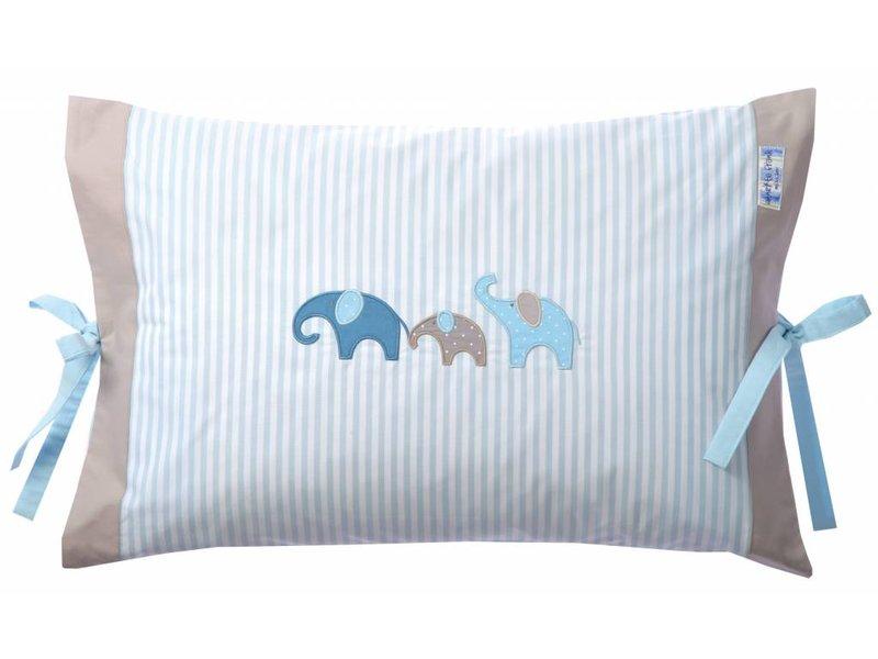 Annette Frank Kissenbezug Elefant lagune-blau 40 x 60 cm mit Schleifen