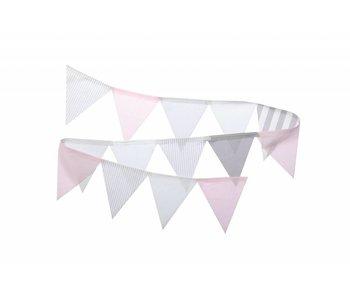 Annette Frank Wimpelgirlande grau-weiss-rosa