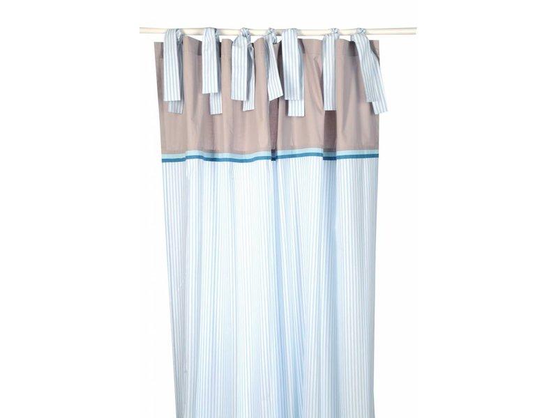 Annette Frank Vorhangschal Streifen lagune-blau 150 x 250 cm