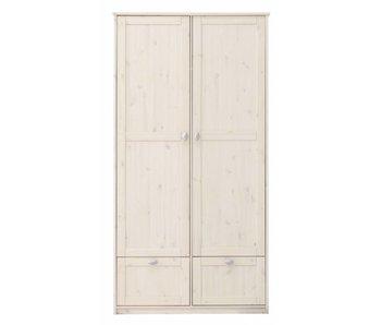 LIFETIME Kleiderschrank mit 2 Türen u. Schubladen whitewash