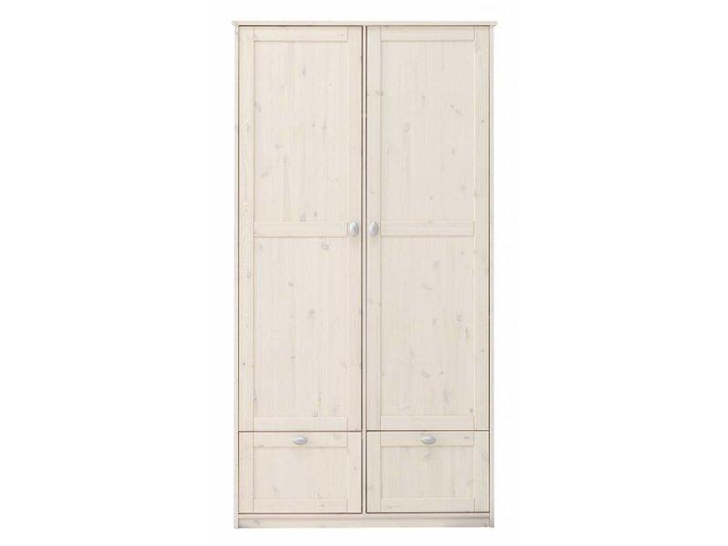 LIFETIME Kleiderschrank mit 2 Türen und Schubladen in whitewash ...