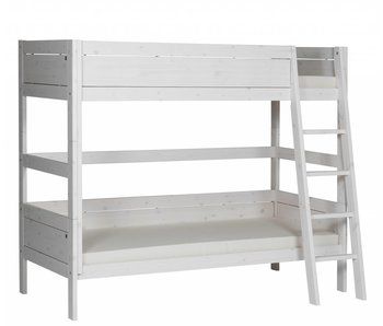 LIFETIME Etagenbett 90 x 200 schräge Leiter Whitewash
