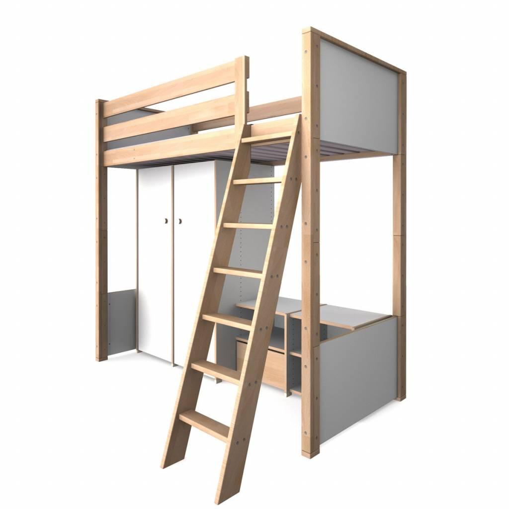 bett mit schrank drunter hochbett buche massivholz x cm. Black Bedroom Furniture Sets. Home Design Ideas