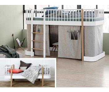 Oliver Furniture Umbau Einzelbett zum halbhohen Bett Wood weiß/Eiche