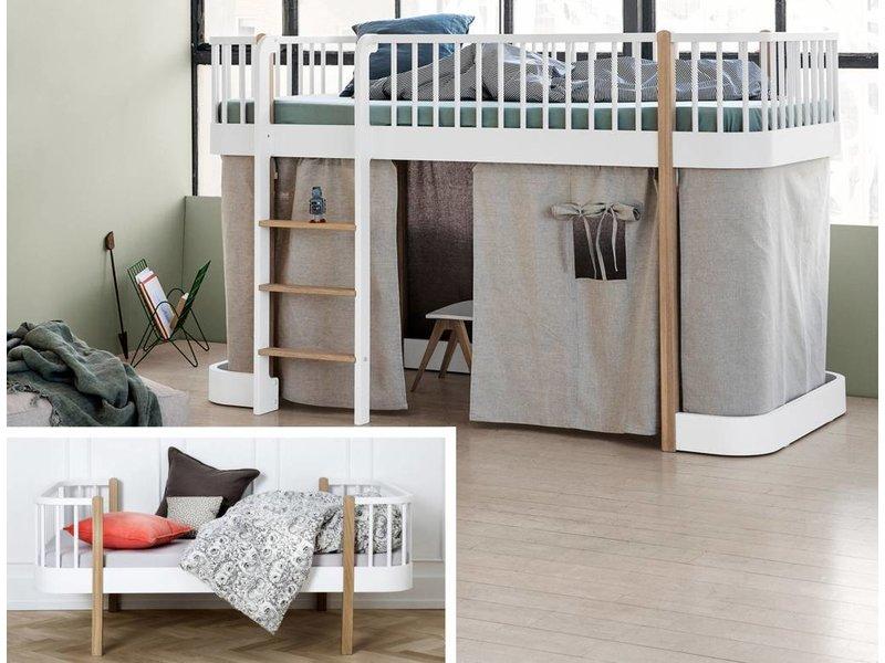 ... Oliver Furniture Umbausatz Vom Einzelbett Zum Halbhohen Hochbett Wood  Weiß/Eiche