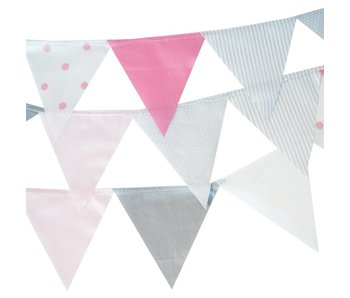 Annette Frank Wimpelgirlande rosa-weiß-grau