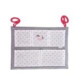 Annette Frank Utensilo für Babybett Pony taupe weiß-rosa Punkte 55 x 70 cm