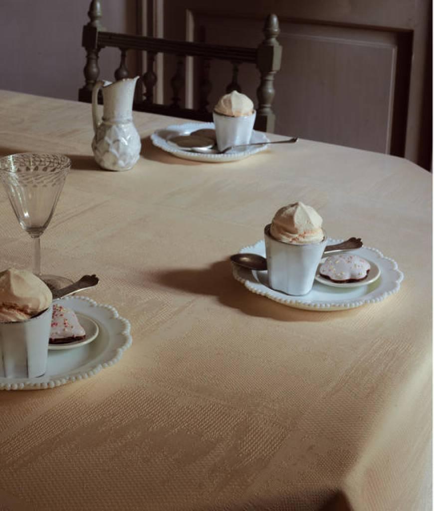 Garnier Thiebaut Tischdecke Mille Twille ecrue de blanc