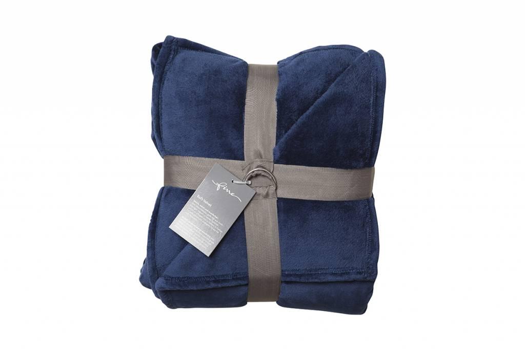 fine plaid softvelvet dunkelblau 140 200 cm wohndekor m ller. Black Bedroom Furniture Sets. Home Design Ideas