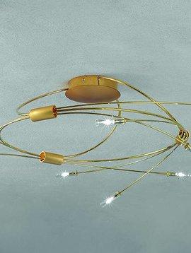 Escale Deckenleuchte Spin, 9 flammig, 60 cm Durchmesser, matt-glänzend vergoldet