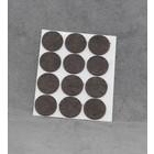 Zelfklevend vilt 22mm rond bruin (12stuks)