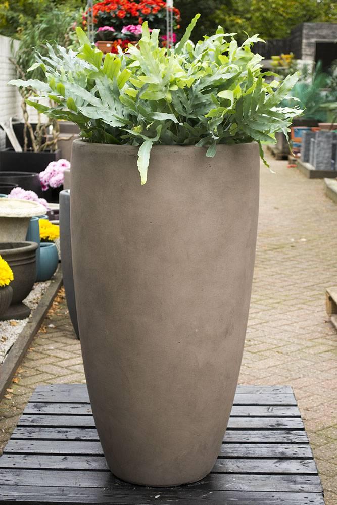 Grote Taupe Vaas 70cm - Bloempotshop.nl