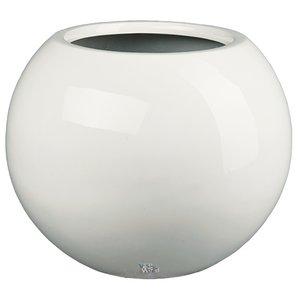 Darwin Ø35cm Wit, hoogglans witte ronde bloempot. Grote hoogglans witte ronde bolvazen
