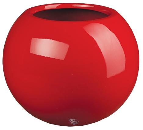 ... , hoogglans rode ronde bloempot. Grote hoogglans rode ronde bolvazen