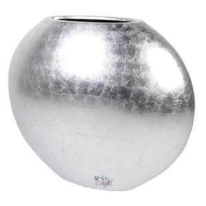 Bonaire big Silver hoogglans zilverkleurige langwerpige bloempot. Grote hoogglans zilveren ovale vazen