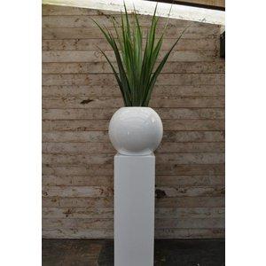 Darwin Ø50 cm Wit, hoogglans witte ronde bloempot. Grote hoogglans witte ronde bolvazen