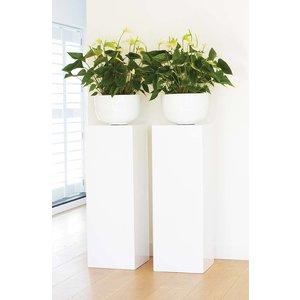 Art Wood Pearl Hoogglans Witte Zuil & Planter 100cm