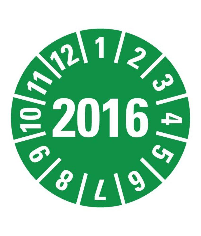 Kwestievanlef Keuringssticker 2016 Ø15 - Ø70 mm vinyl groen strook van 5 stuks