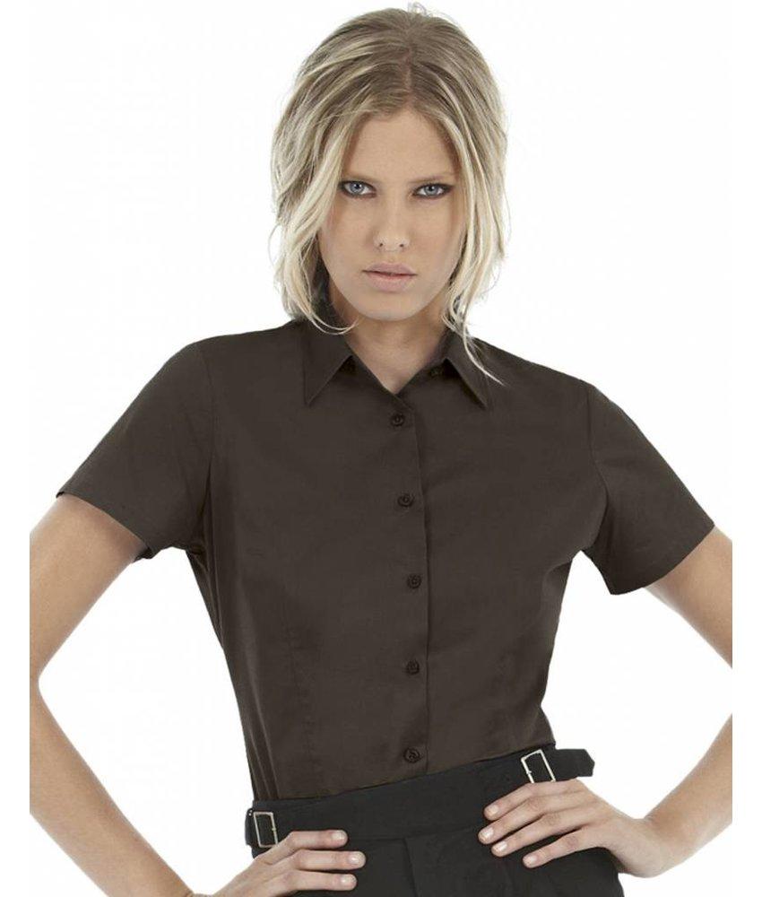 B&C Ladies' Black Tie Elastane Short Sleeve Poplin Blouse