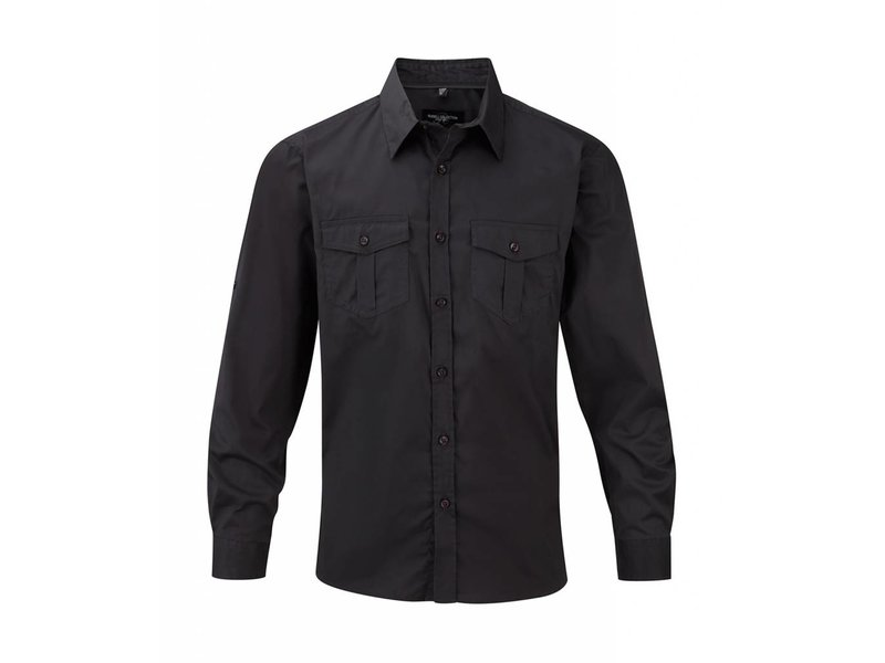 Russell Collection Mens Roll Sleeve Blouse Long Sleeve