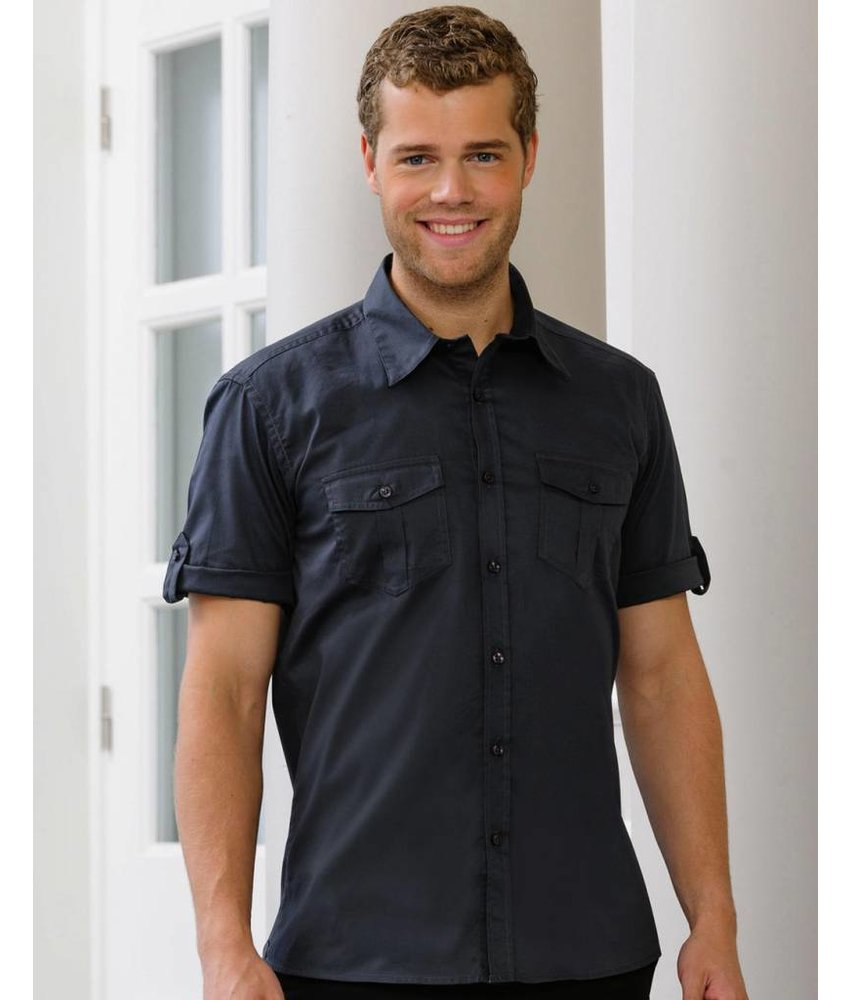 Russell Collection Mens Roll Sleeve Blouse