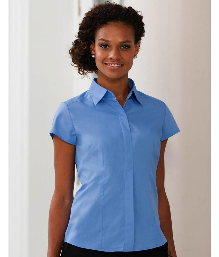 Russell Collection Ladies S/SL Poplin Blouse