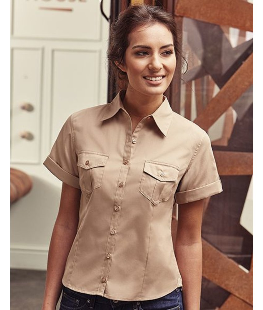 Russell Collection Womens Roll Sleeve Blouse