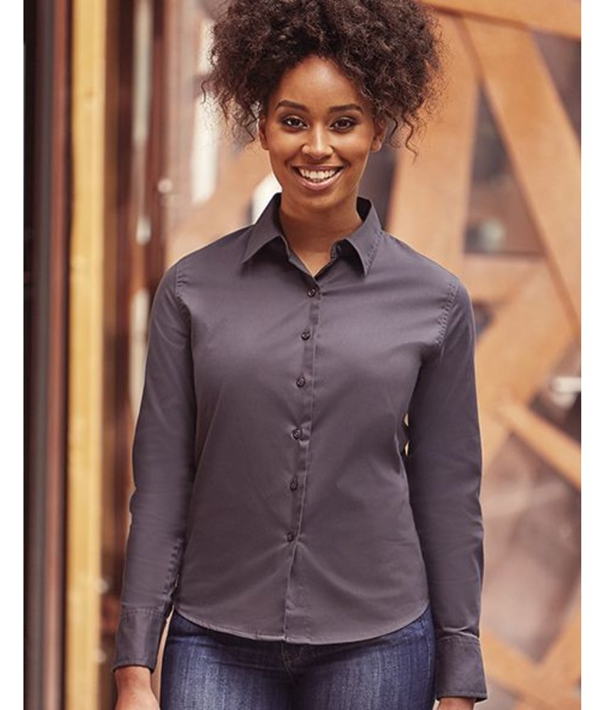 Russell Collection Ladies Classic Twill Blouse LS