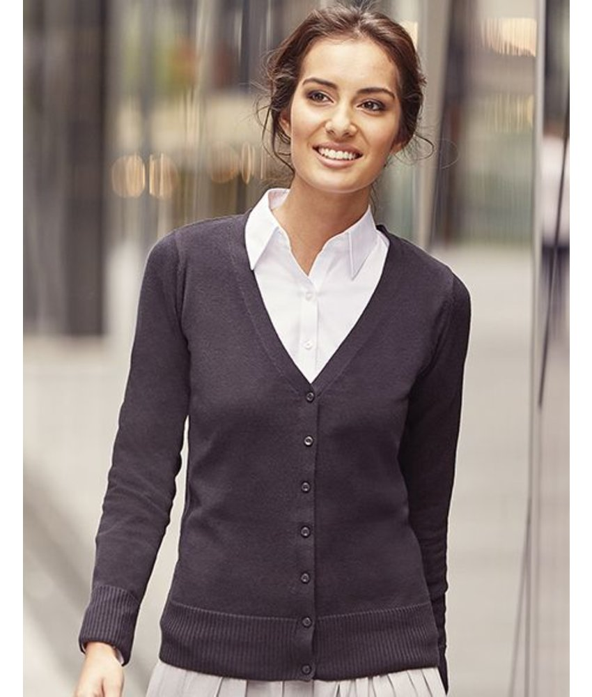 Russell Collection Ladies V-Neck Knitted Cardigan
