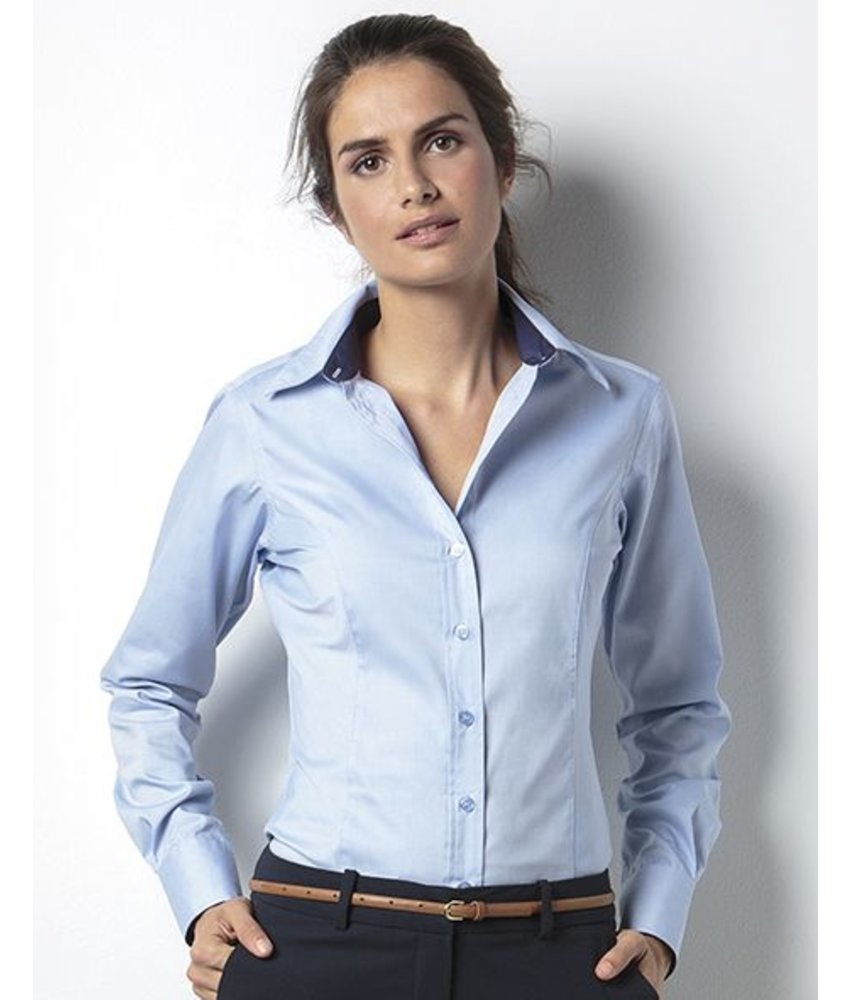 Kustom Kit Women's Contrast Premium Oxford Blouse LS