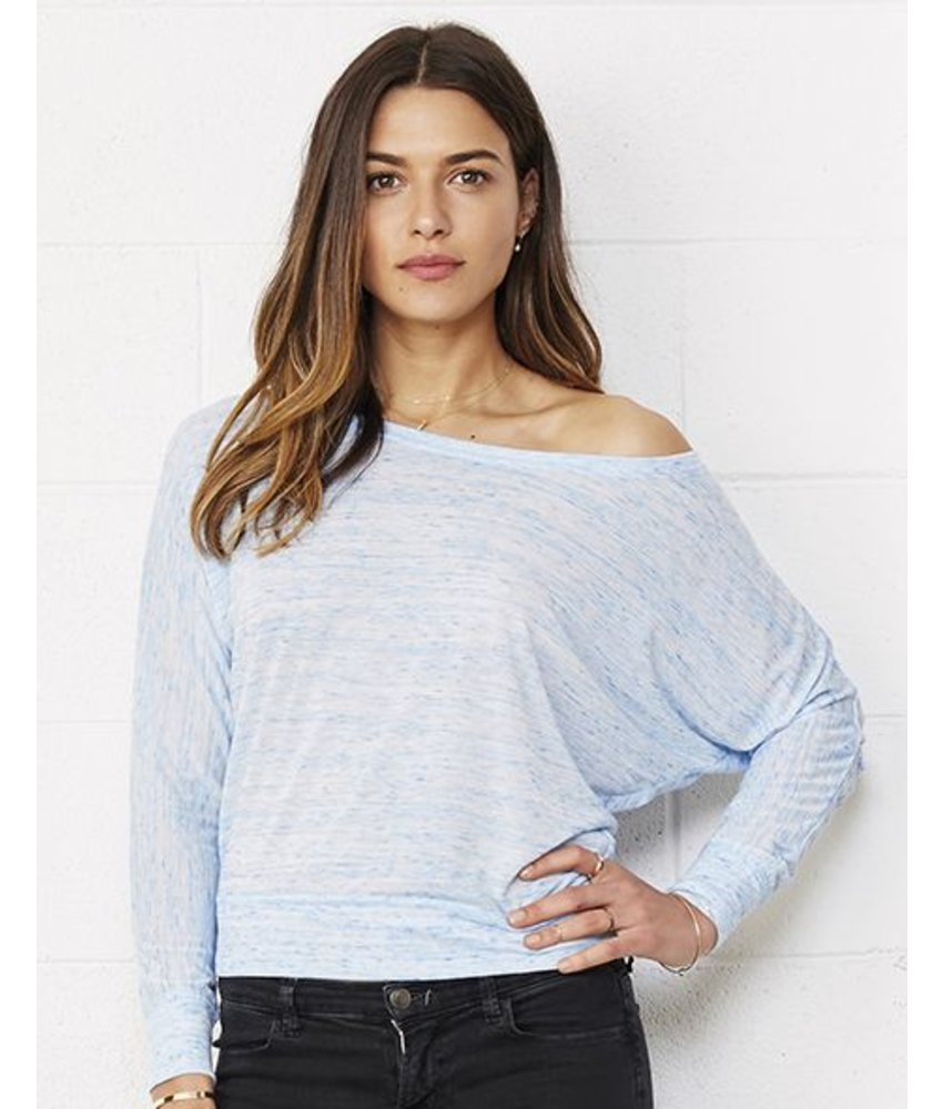 Bella + Canvas Flowy LS Off Shoulder T-Shirt