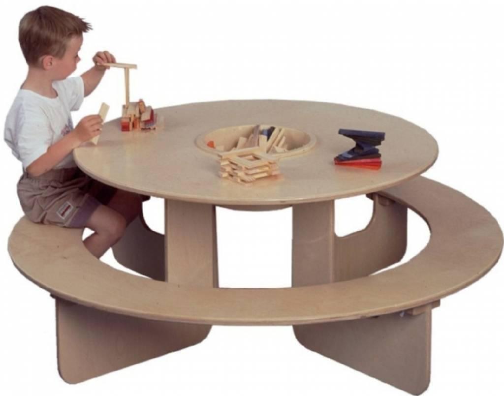 ronde kindertafel houten kindertafel rond model met opbergvak kinderspel. Black Bedroom Furniture Sets. Home Design Ideas
