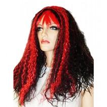 Pruik lang haar rood/zwart Evie
